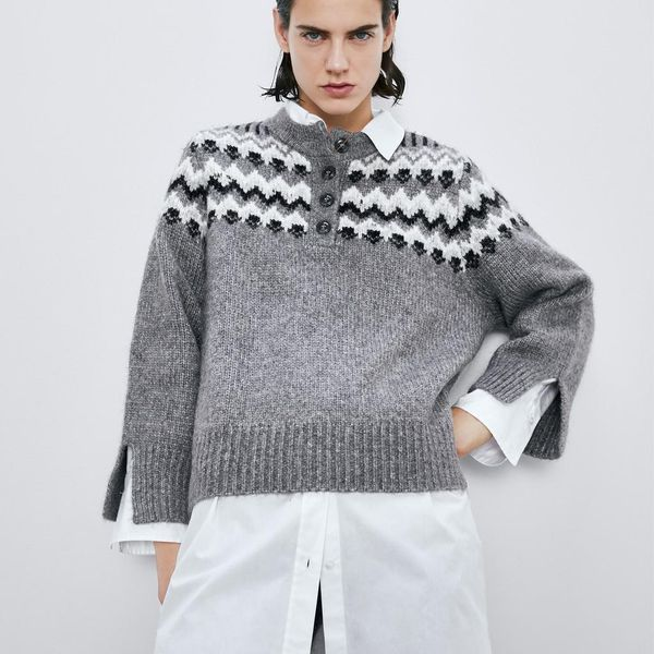 Wholesale winter vintage jacquard women's sweater sweater women's NHAM195025