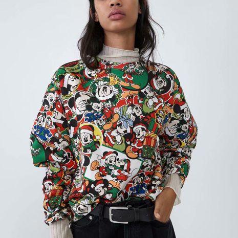 Winter Christmas series cartoon printed women's sweater NHAM195026's discount tags