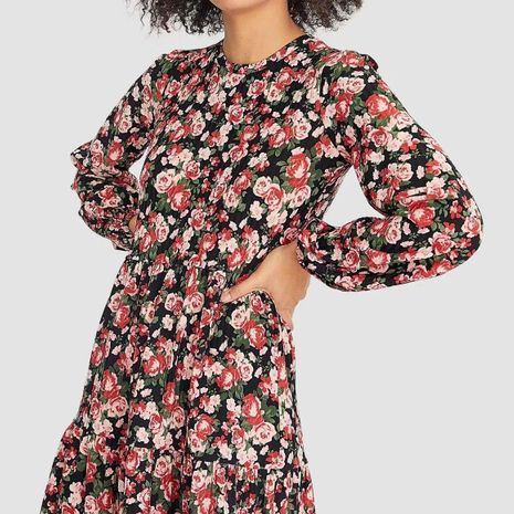 Vintage French Floral Print Long Sleeve Dress Wholesale NHAM195027's discount tags