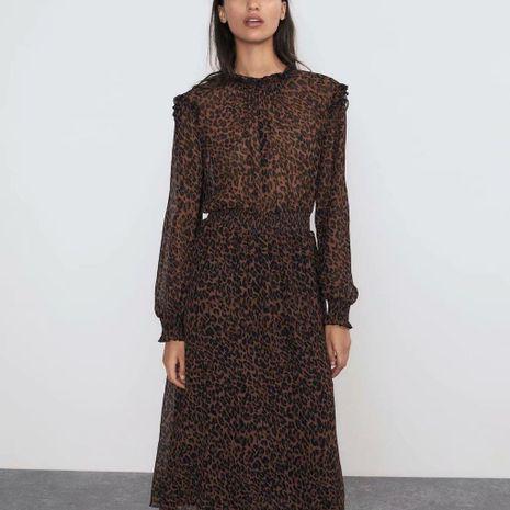 Animal Print Long Sleeve Waist Dress Wholesale NHAM195031's discount tags