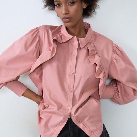 Winter New Women's Folded Poplin Shirt NHAM195036's discount tags