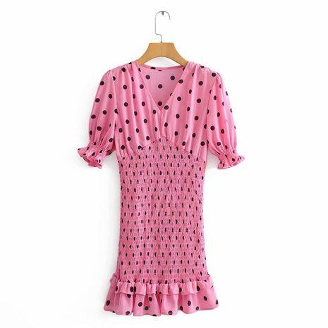 Tire el vestido de lunares con volantes elásticos al por mayor NHAM195040's discount tags