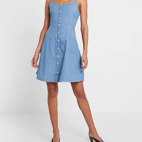 Winter waistline A-line skirt denim camisole dress NHAM195049's discount tags