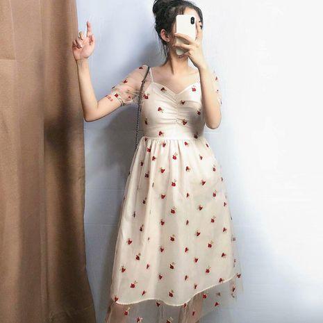 Falda retro sobre la rodilla de malla rosa vestido de correa bordada NHAM195058's discount tags