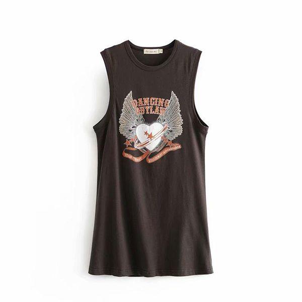 Long grey printed vest in wholesale NHAM195063