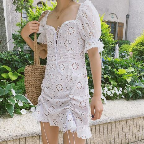 Wholesale Lace Embroidered Sun Flower Lace Dress NHAM195065's discount tags