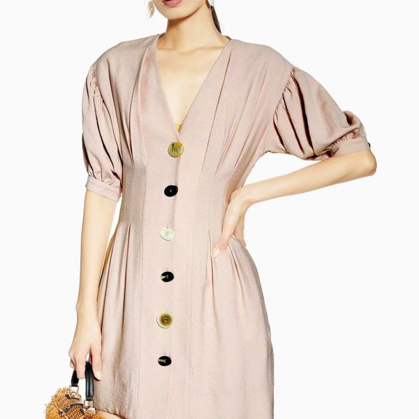 Wholesale button design lantern pink dress NHAM195076