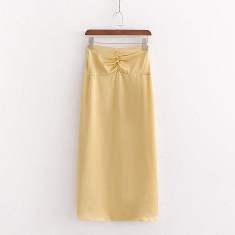 Winter high waist pleated satin long skirt wholesale NHAM195089's discount tags