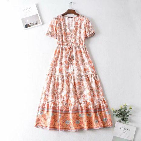 Wholesale winter short-sleeved mid-length printed drawstring dress NHAM195092's discount tags