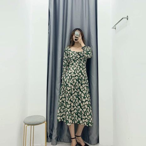 Wholesale Winter Retro Waist Side Slit Long Sleeve Dress NHAM195107's discount tags