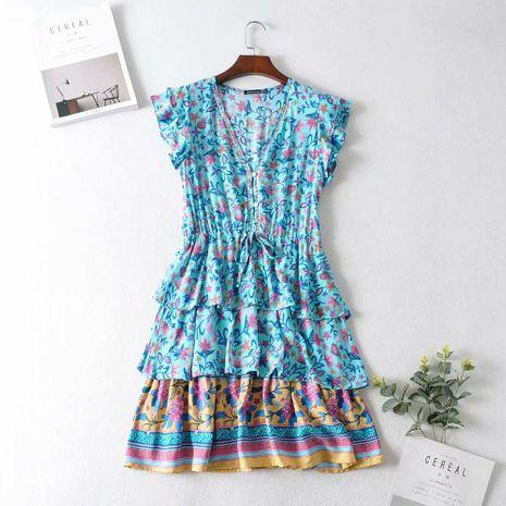 Wholesale winter ruffle sleeve printed dress NHAM195111's discount tags