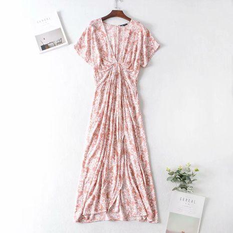 Wholesale winter bat sleeve printed men's cotton beach vacation dress NHAM195112's discount tags