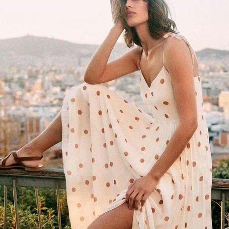 Wholesale Autumn Retro Polka Dot Pleated Cami Dress NHAM195121's discount tags
