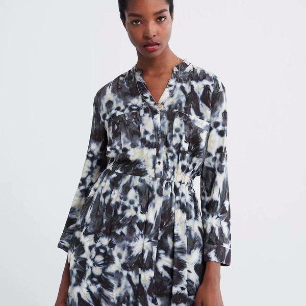 Wholesale v-neck print dress NHAM195134