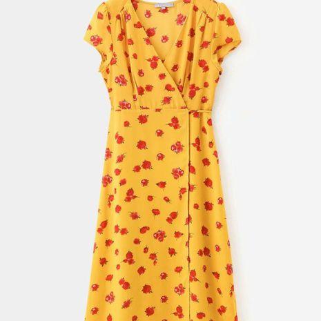 Wholesale printed v-neck lace-up wrap vintage dress NHAM195135's discount tags