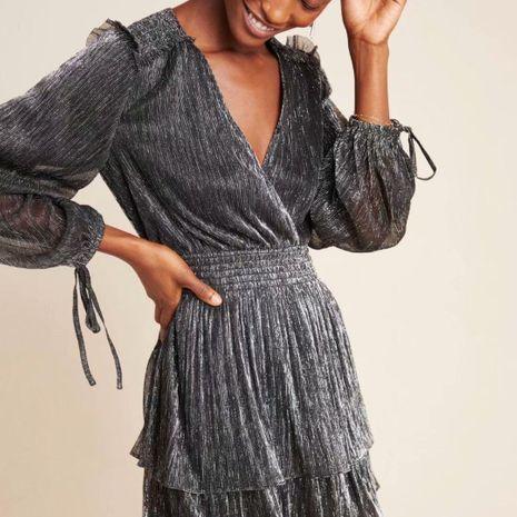 Wholesale winter ruffled stretch elastic silk long sleeve dress NHAM195141's discount tags