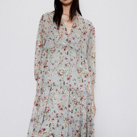 Wholesale Women's V-neck Medium Flower Print Dress NHAM195148's discount tags