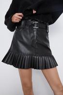 New Leather Short Skirt Women39s Small Pleated Faux Leather Mini Skirt NHAM195151