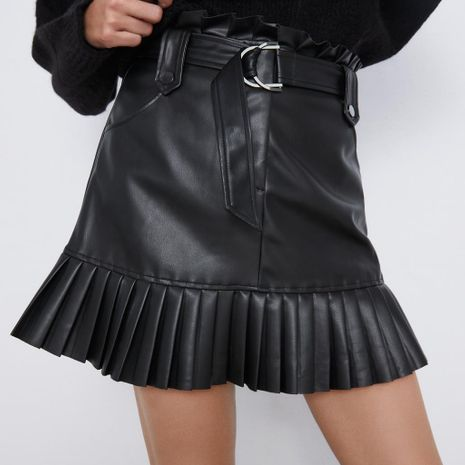 New Leather Short Skirt Women's Small Pleated Faux Leather Mini Skirt NHAM195151's discount tags
