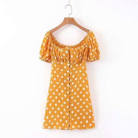 Wholesale Winter One-Breasted Retro Polka Dot Dress NHAM195152's discount tags