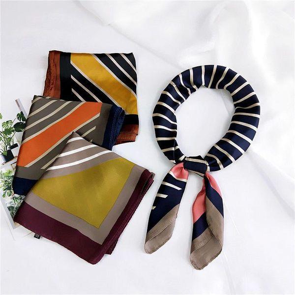 Diagonal a rayas bufanda cuadrada bufanda pequeña bufanda coreana para mujer NHMN195166