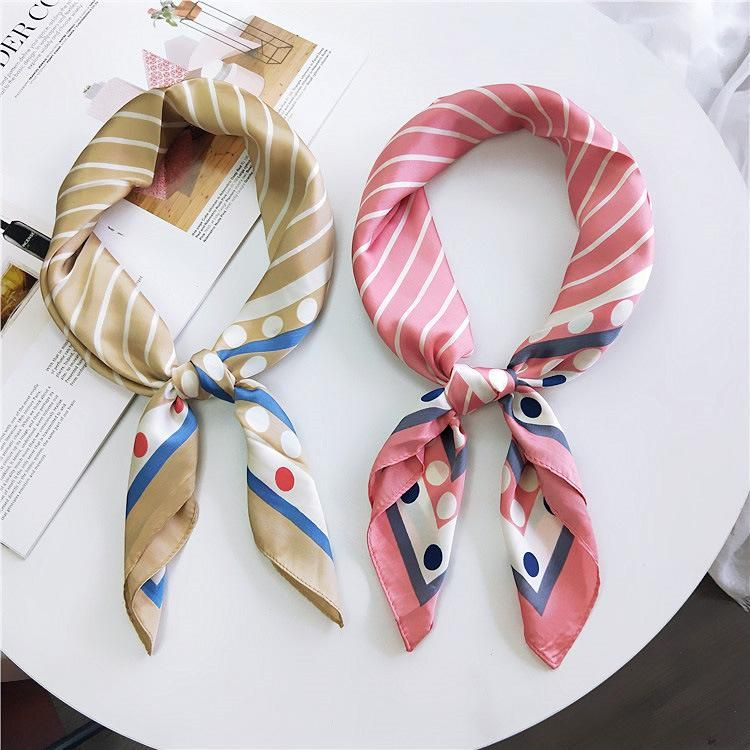 New stripe small square scarf small scarf  Korean scarf NHMN195173
