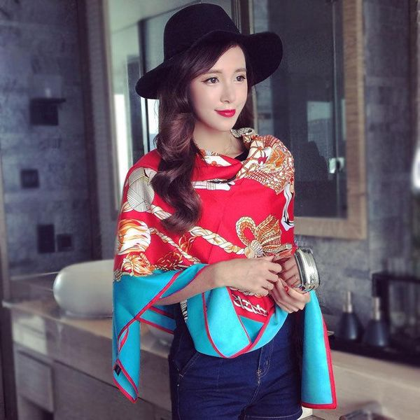 Korean twill satin large square scarf fashion shawl dual-use scarf wholesale NHMN195179