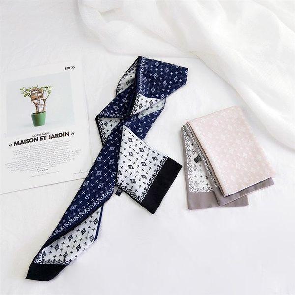 Color-blocking flat-necked scarf and scarves women's new Korean ribbon wristband streamer NHMN195182