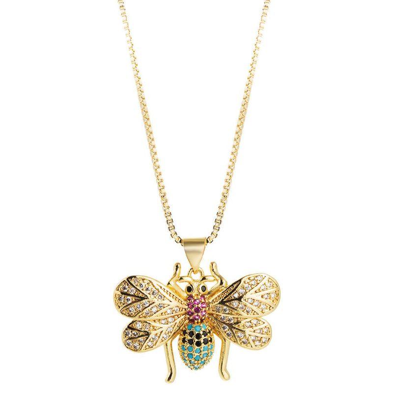 Bee Pendant Female Necklace Creative Valentine39s Day Clavicle Chain Copper Inlaid Color Zircon NHLN195185