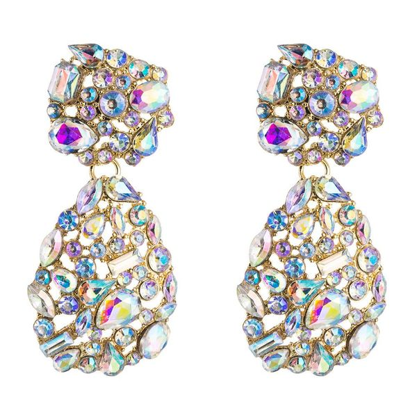 European and American popular personality fashion geometric alloy earrings female Za big brand earrings set with colorful rhinestone earrings NHLN195191
