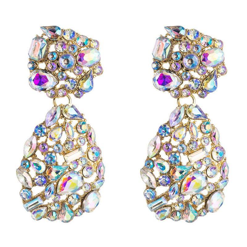 European and American popular personality fashion geometric alloy earrings female Za big brand earrings set with colorful rhinestone earrings NHLN195191