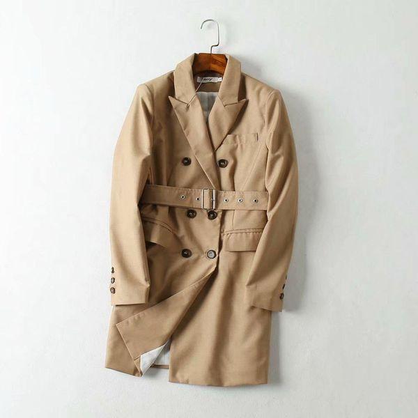 Wholesale long double-breasted women's blazer NHAM192790