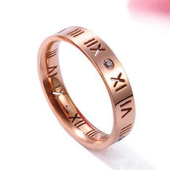 Anillo de acero de titanio con números romanos y diamantes NHIM195199's discount tags