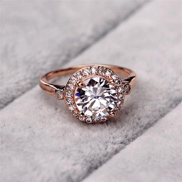 Moda exagerada cristal rosa de oro retro anillo dedo índice  NHIM195202