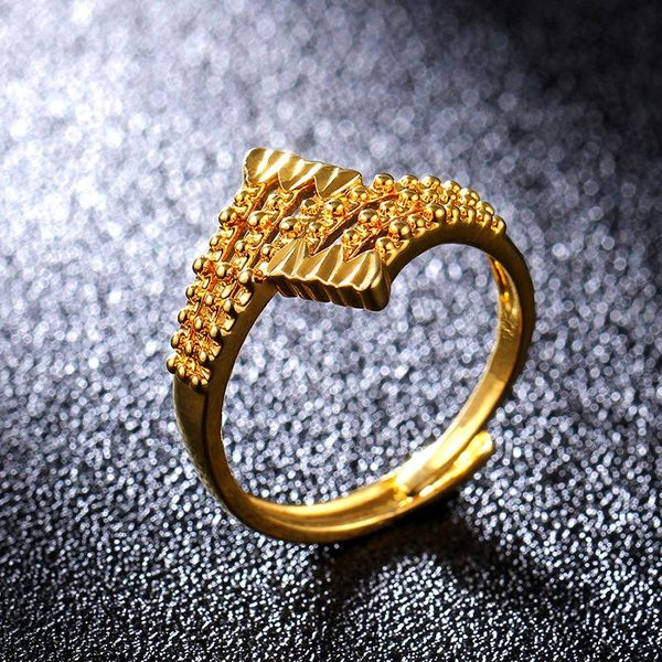 Fashion 18KGP Imitation Gold Ring Gold Embossed Ring NHIM195204