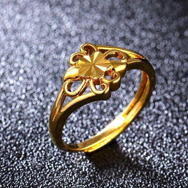 Fashion 18KGP Imitation Gold Ring Golden Chrysanthemum Ring NHIM195208
