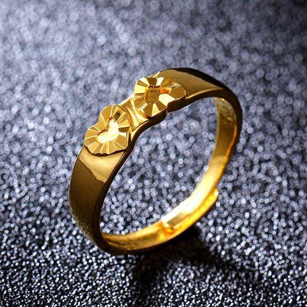 Anillo de oro de imitación de moda 18KGP Anillo de corazón de melocotón dorado NHIM195209