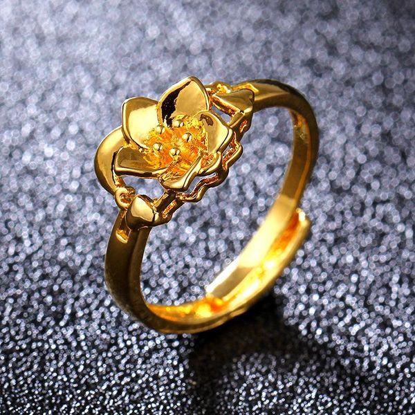 Fashion 18KGP Imitation Gold Ring Golden Flower Ring NHIM195210