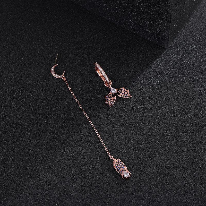 New Wing Ear Cuff Asymmetrical Dark Bat Earrings Rose Gold Sterling Silver Stud Earrings for Girls NHLJ195218