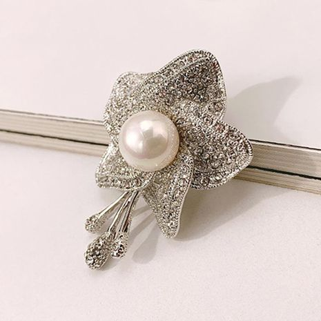 Broche de perlas simple y elegante cristal para mujer al por mayor NHLJ195228's discount tags