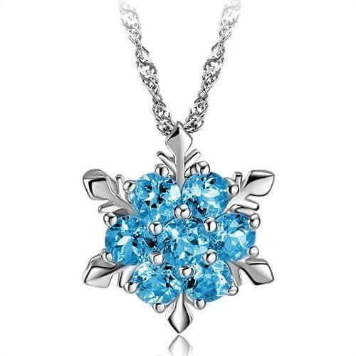 New 925 sterling silver sapphire snowflake silver pendant Korean wholesale jewelry NHLJ195241