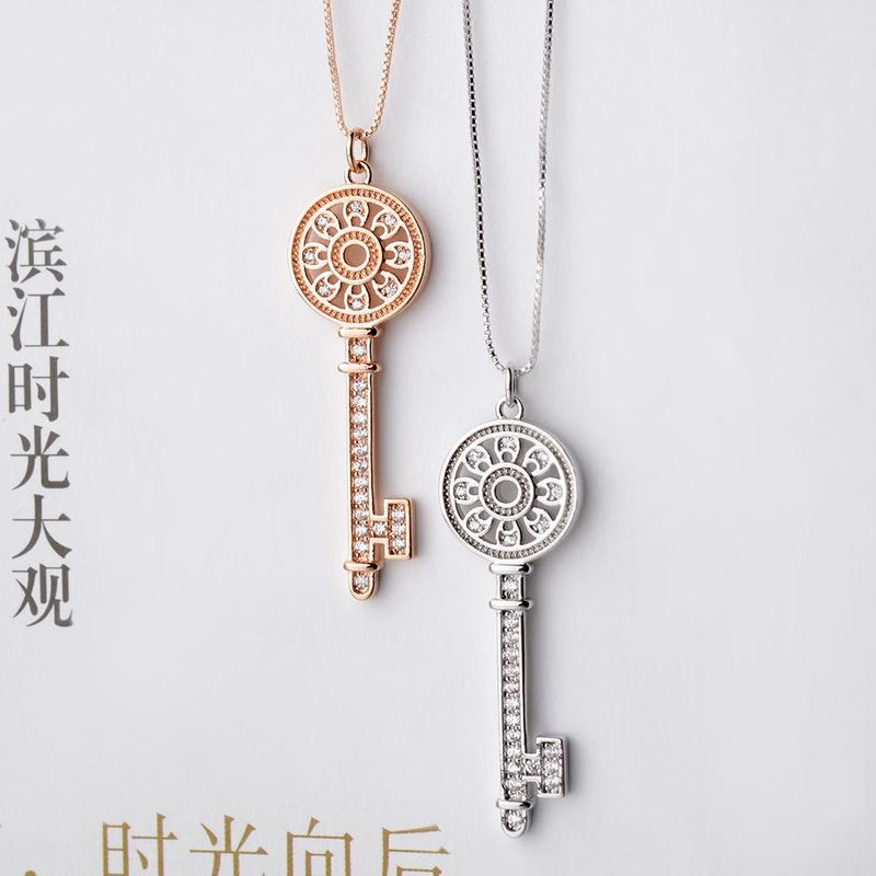 Women's short necklace with key necklace NHLJ195260