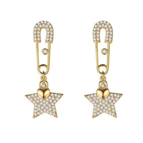 Personalidad de moda aretes de estrella de cinco puntas de plata salvaje NHLJ195264's discount tags