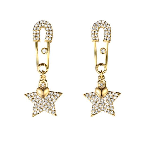 Fashion personality wild silver pin five-pointed star earrings NHLJ195264