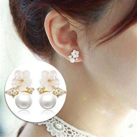 Aretes de perlas de flor de concha de circonita NHLJ195266's discount tags