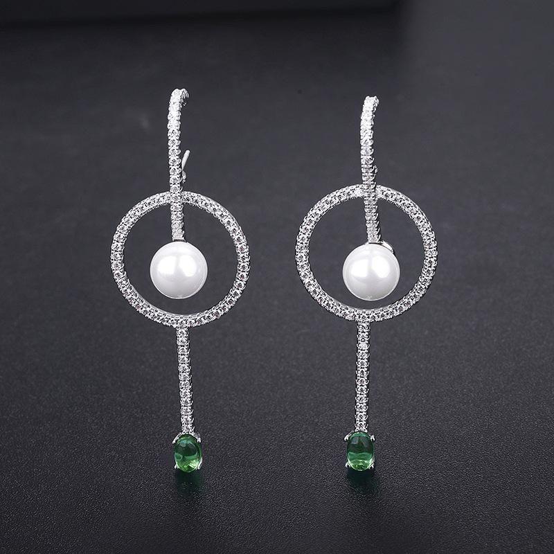 New fashion zircon pearl earrings womens earrings wholesale NHLJ195268