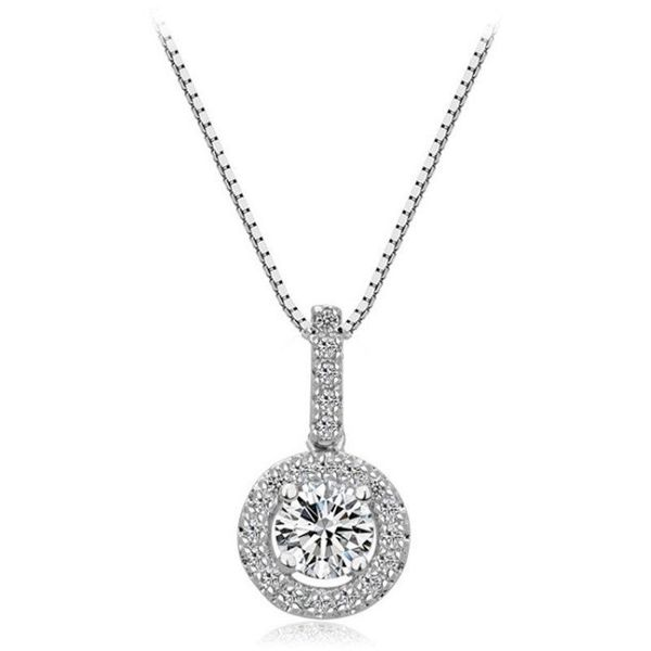 Korean style round AAA zircon short pendant for women NHLJ195286