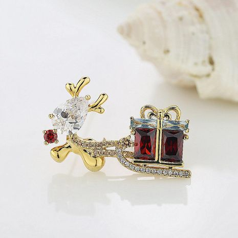 Christmas Gift Reindeer Pony Car Delicate AAA Zircon Brooch Suit Pin Collar Pin NHLJ195289's discount tags