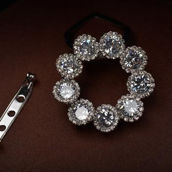Fashion flower round zircon scarf buckle brooch fashion jewelry wholesale NHLJ195290's discount tags