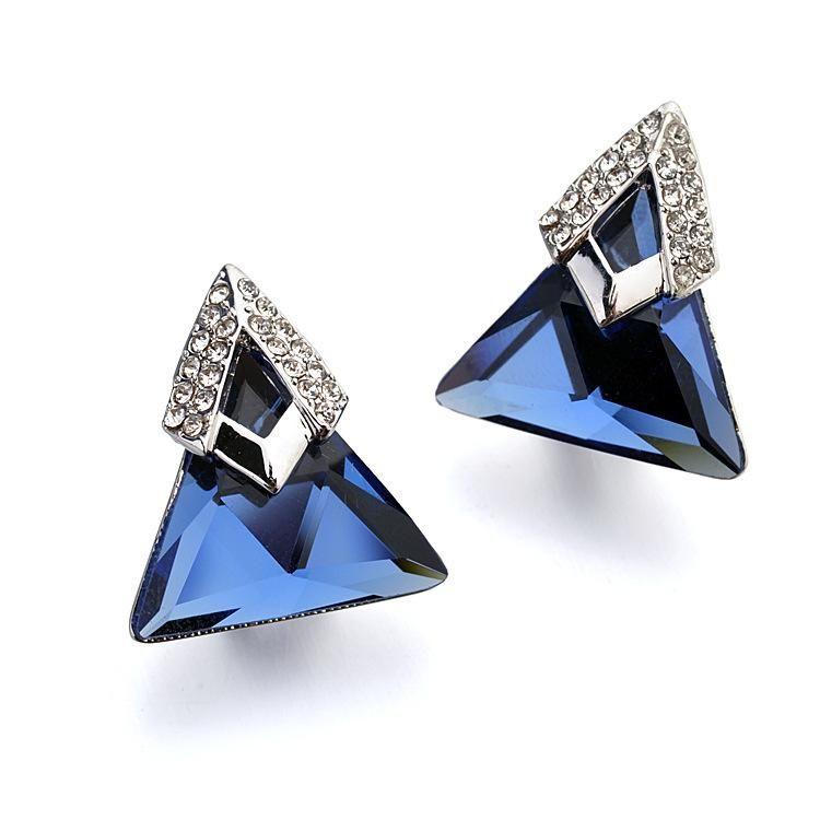 Exaggerated Diamond Triangular Austrian Crystal Stud Earrings NHLJ195292